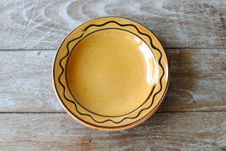 【湯町窯】ふち付き皿 大 黄釉 スリップB
