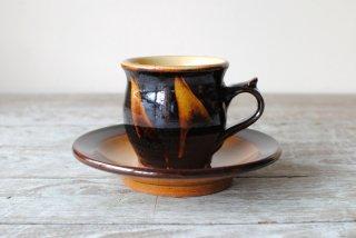 【湯町窯】コーヒー碗皿 黒 スリップ
