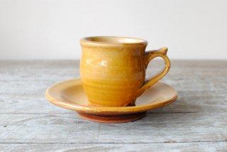 【湯町窯】コーヒー碗皿 黄