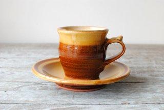 【湯町窯】コーヒー碗皿 黄 掛け分け