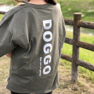 【大人気】DOGGO/ビッグシルエットTシャツ(アーミーグリーン)/愛犬とペアルック可