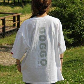 【大人気】DOGGO/ビッグシルエットTシャツ(ホワイト)/愛犬とペアルック可