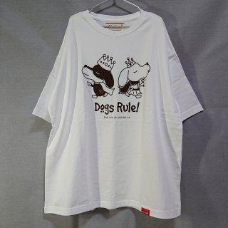 Dogs Rule!/ビッグシルエットTシャツ(ホワイト)/愛犬とペアルック可
