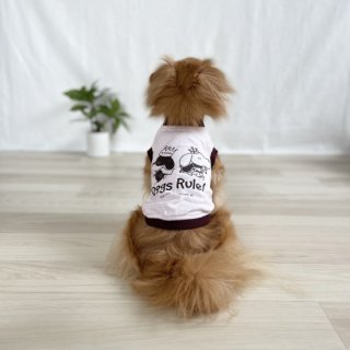 Dogs Rule!/犬用Tシャツ(フロストピンク)/ペアルック可