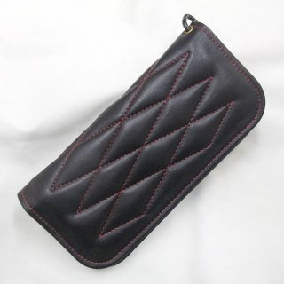 ALL Horse Hide Padded Wallet  Brack Leather×Red Stitch