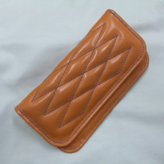 CowHide Padded Wallet  Orange Leather×Blue Stitch