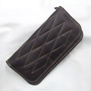 ALL Leather  Horse Hide Padded Wallet Brown Leather×Beige Stitch