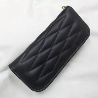 ALL Leather  Cow Hide Padded Wallet Black Leather×Brown Stitch
