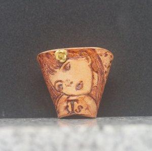 タイストラップ carving(彫刻)シリーズ 花と少女(3) ナチュラル 3点セット価格