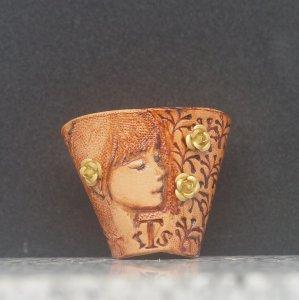 タイストラップ carving(彫刻)シリーズ 花と少女(4) ナチュラル 3点セット価格