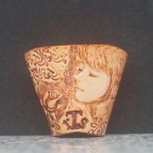 タイストラップ carving(彫刻)シリーズ 花と少女(5) ナチュラル 3点セット価格