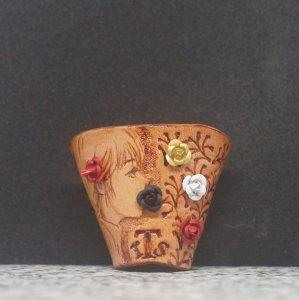 タイストラップ carving(彫刻)シリーズ 花と少女(6) ナチュラル 3点セット価格