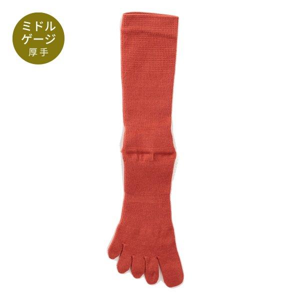 【Affito】ラストブラウン無地 クルー丈 5本指ソックス 日本製 スーツスタイルに
