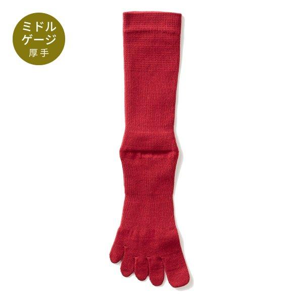 【Affito】エンジ無地 クルー丈 5本指ソックス 日本製 スーツスタイルに