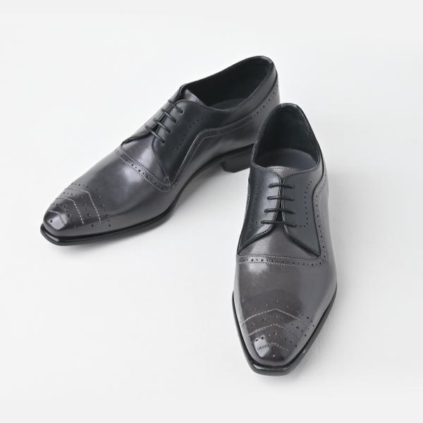 【Affito】プレーントゥ メダリオン 2カラーコンビ グレー/ブラック ビジネスシューズ イタリア製