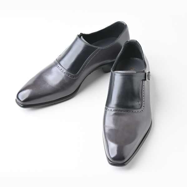 【Affito】サイドストラップ 2カラーコンビ グレー/ブラック ビジネスシューズ イタリア製