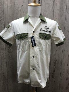 フェローズ  カスタム半袖シャツ  オフホワイト 2トーン ワークシャツ 21S-P2WS1  ボーリング PHERROW'S