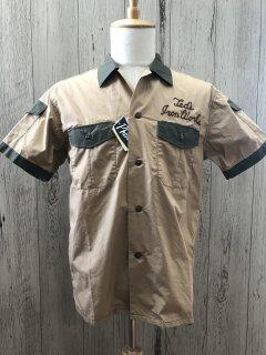 フェローズ  カスタム半袖シャツ L.ブラウン 2トーン ワークシャツ 21S-P2WS1  ボーリング PHERROW'S