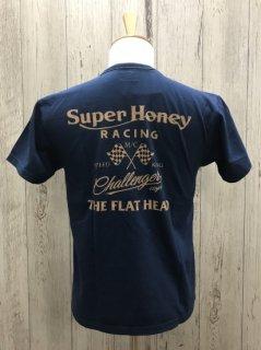 フラットヘッド FN-THC-017 NVY   SUPER HONEY スーパーハニー スピードキング 半袖プリントTシャツ FLAT HEAD