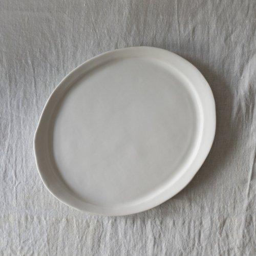 馬場勝文 / 白磁マット リム細オーバル皿 27cm