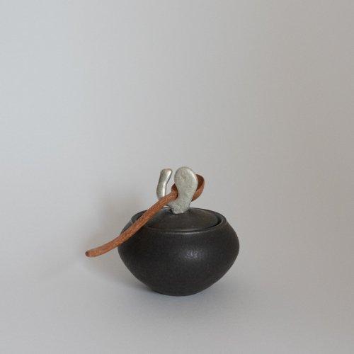 馬場勝文 / 黒釉砂糖塩つぼ(小)