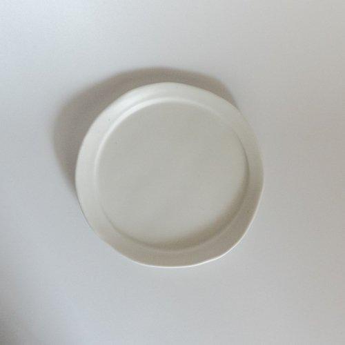 馬場勝文 / 白磁マット リム細5.5寸皿