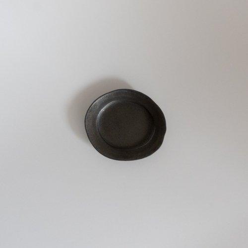 馬場勝文 / 黒釉 リムオーバル豆皿