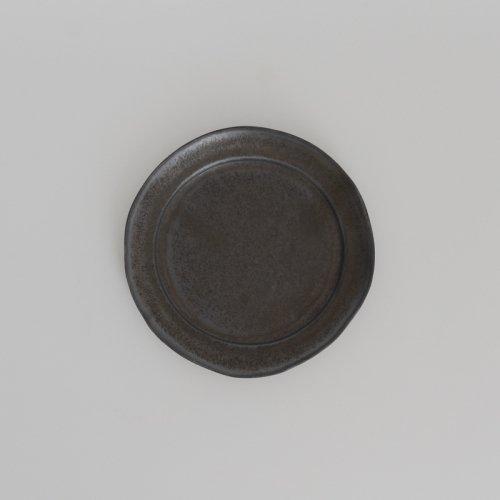 馬場勝文 / 黒釉リム5.5寸皿
