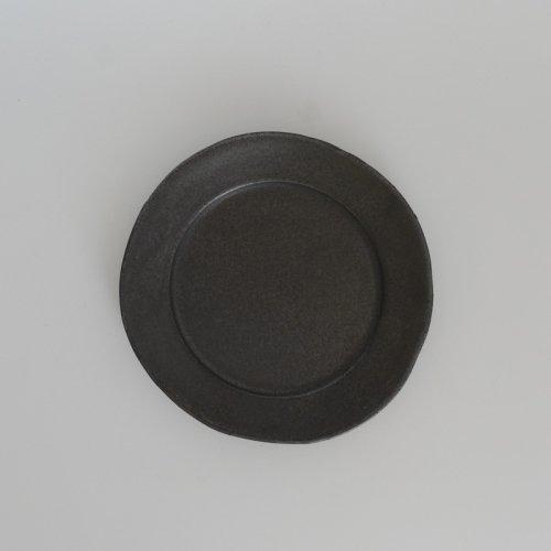 馬場勝文 / 黒釉リム皿 20cm