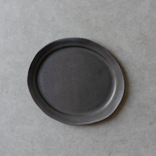 馬場勝文 / 黒釉リムオーバル皿 size-3
