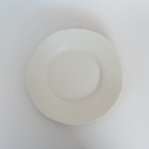 馬場勝文 / 白磁マット リム広8寸皿