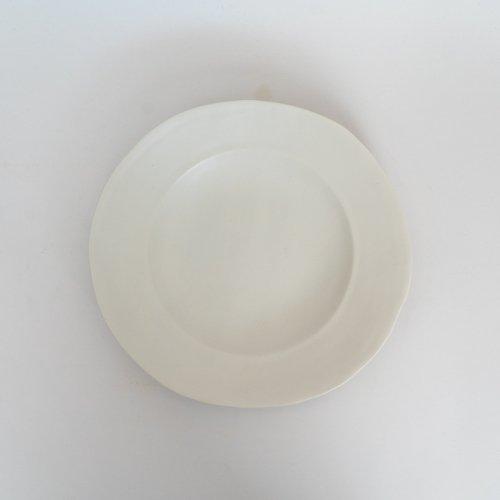 馬場勝文 / 白磁マット リム深7.5寸皿