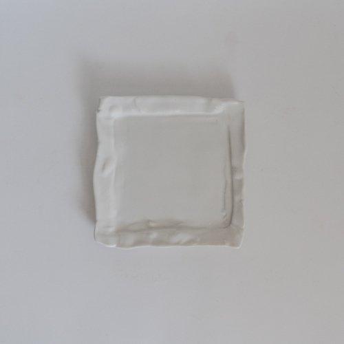 馬場勝文 / 白磁マット リム角皿