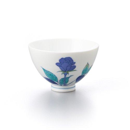 バラ 丸茶碗 青