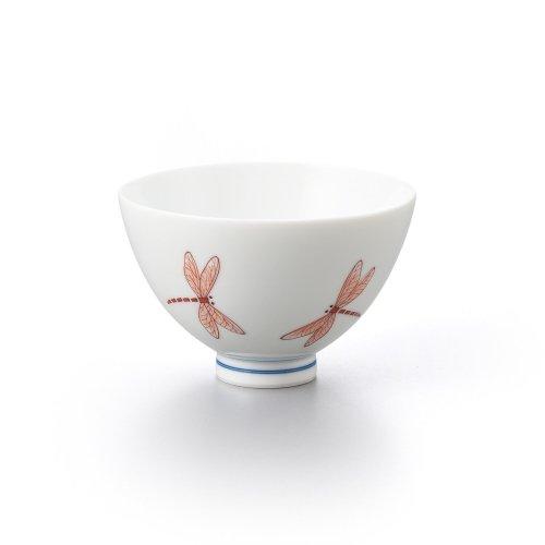 トンボ 丸茶碗 赤