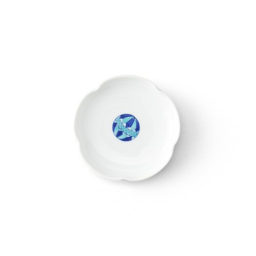 手まり 梅型小皿 青
