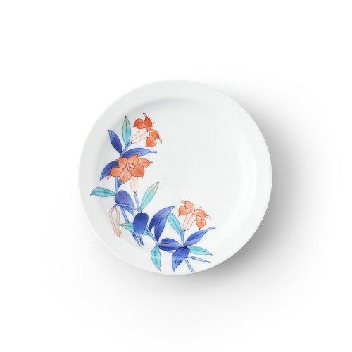 五草花 百合 リム付6寸皿