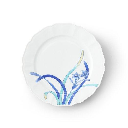 五草花 水仙 木瓜7寸皿