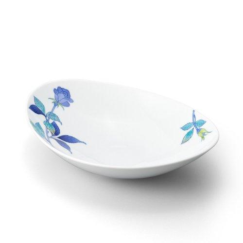 バラ 楕円鉢 青