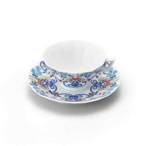 鍋島 色絵唐花 十二角紅茶碗