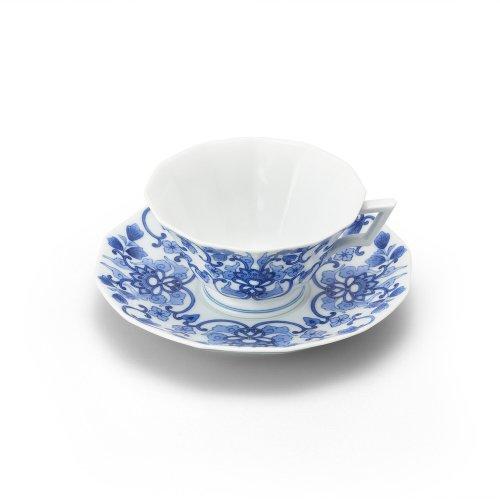 鍋島 染付唐花 十二角紅茶碗