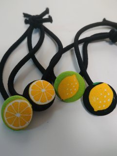 レモンのヘアゴム2色4個セット