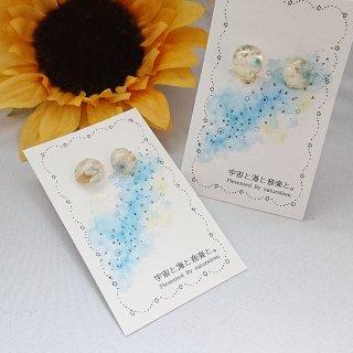 ブルー&ホワイトのお花のピアス・イヤリング