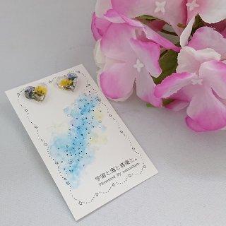 2色のお花のハートピアス