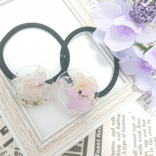 紫陽花とかすみ草のヘアゴム2個セット
