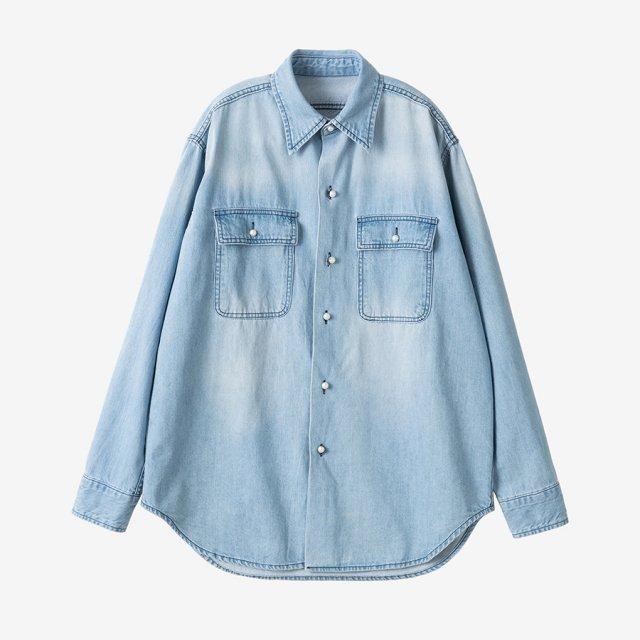 パールボタンデニムシャツ【blue】