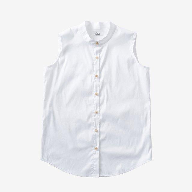 ノーカラーボタンブラウス【white】