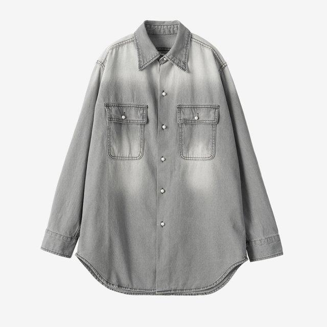パールボタンデニムシャツ【gray】