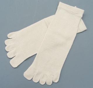 絹5本指ソックス(かかとなし) 絹100% 生成 22〜24cm