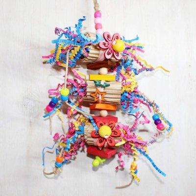 紙カミのり巻きトイ(Mサイズ)_鳥  インコのおもちゃ